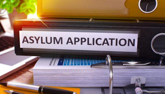 black binder stacked on desk labeled asylum application on immigration attorneys chicago desk