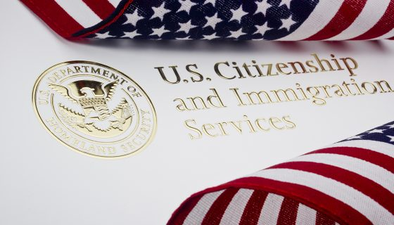 U.S. Department of Homeland Security logo and American flag pictured from Naperville Immigration Lawyers